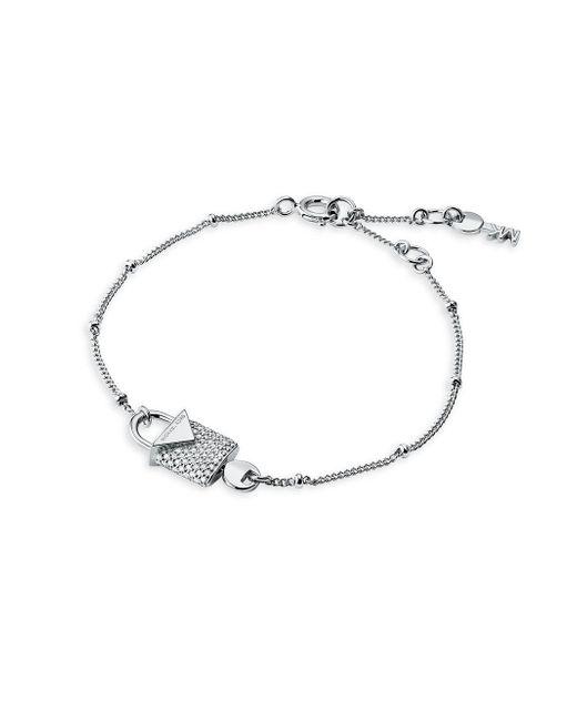 Michael Kors - Metallic Sterling Silver And Crystal Interlocking Key & Padlock Bracelet - Lyst