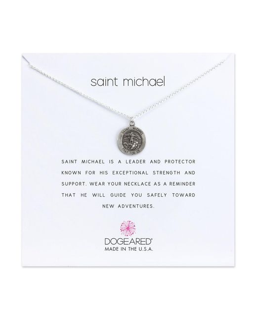 Dogeared - Metallic Reminder Saint Michael Sterling Silver Pendant Necklace - Lyst