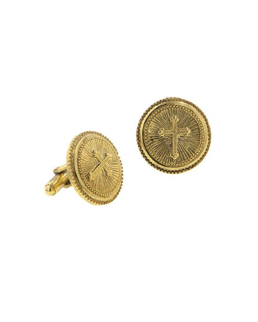 1928 - Metallic Cross Round Cufflinks for Men - Lyst