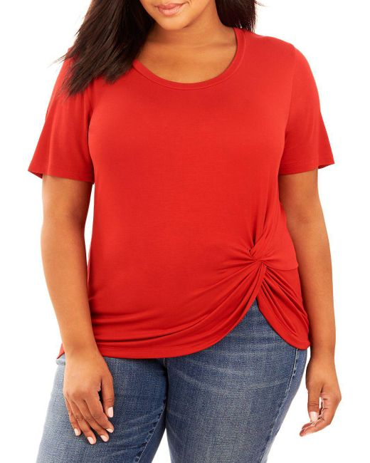 REBEL WILSON X ANGELS - Red Plus Rouched Jersey T-shirt - Lyst