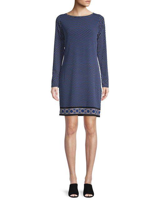 a14f81a82f2 MICHAEL Michael Kors - Blue Petite Alston Long-sleeve Dress - Lyst ...
