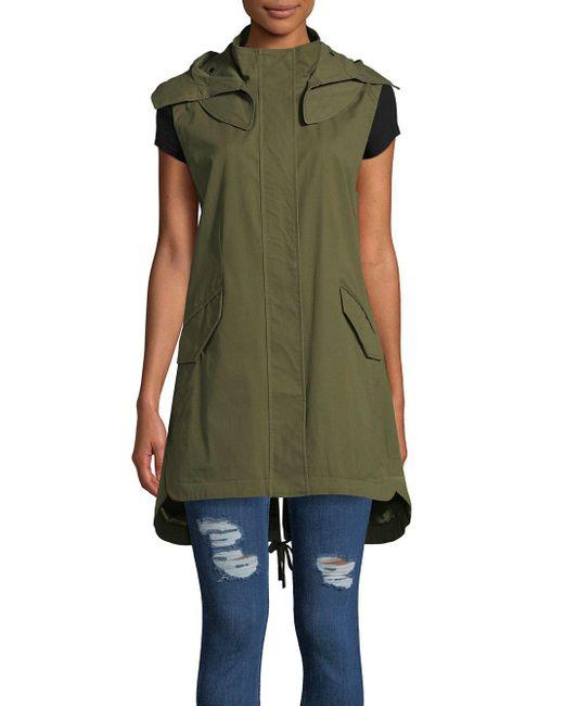 Sam Edelman - Green Long Cotton Anorak Vest - Lyst