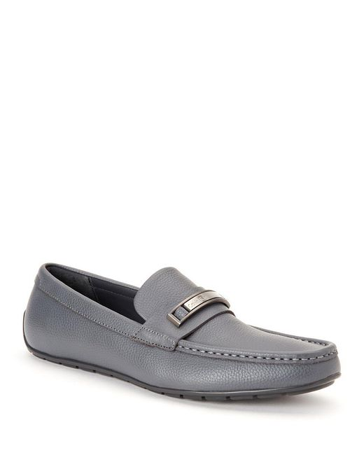 Calvin Klein | Gray Irving Tumbled Leather Loafers | Lyst