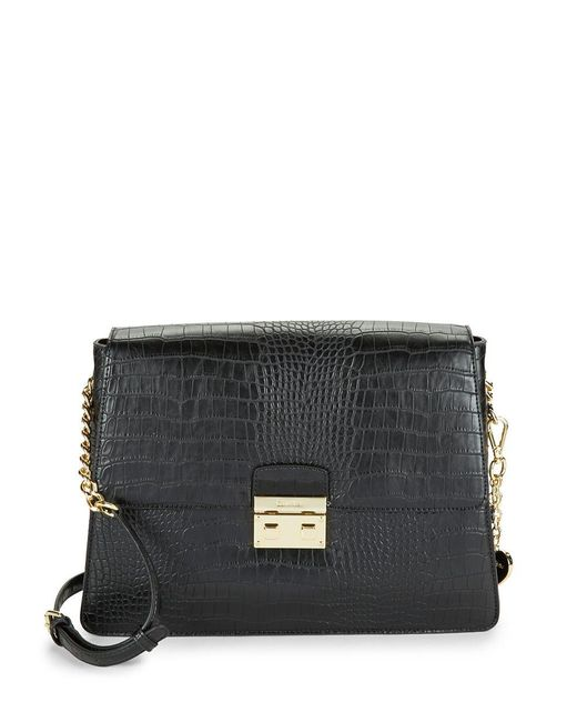 CALVIN KLEIN 205W39NYC - Black Flap Leather Crossbody Bag - Lyst