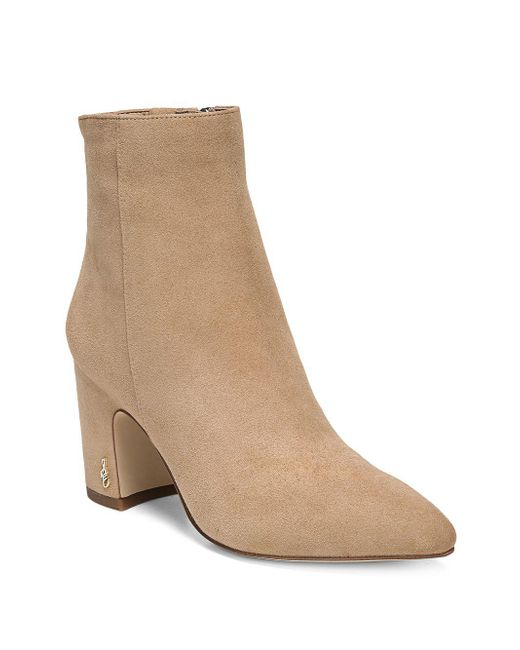 2dda0263d0aed Lyst - Sam Edelman Hilty Pointy Suede Booties in Natural