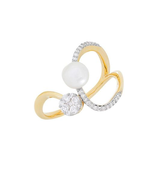 Lord & Taylor - Metallic Diamond And 6mm-6.5mm White Freshwater Pearl 14k Yellow Gold Ring - Lyst