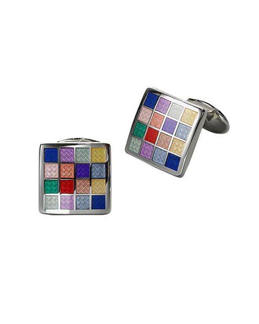 David Donahue - Blue Multicolored Checkered Cuff Links for Men - Lyst