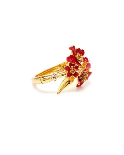 Oscar de la Renta - Metallic Delicate Flower Swarovski Crystal Bracelet - Lyst