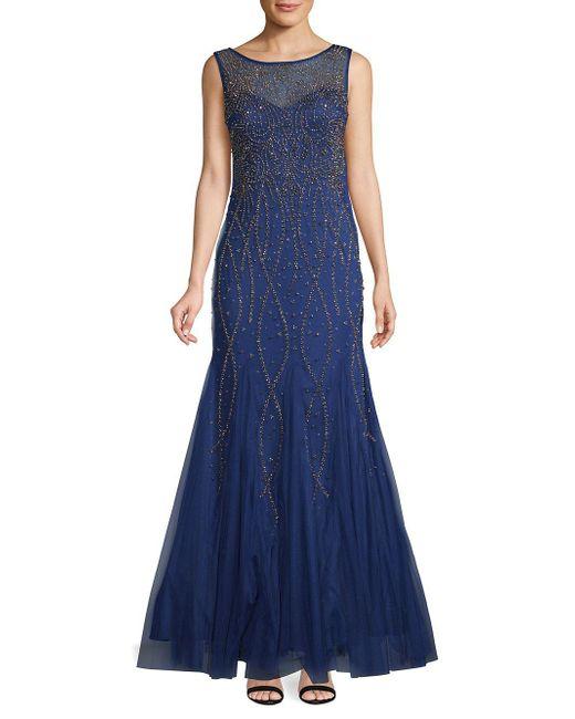 Xscape - Blue Beaded Mermaid Gown - Lyst