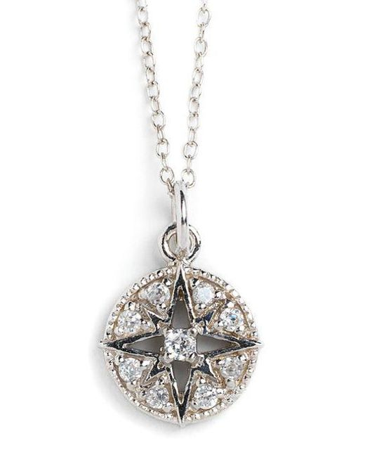 Lord & Taylor - Metallic Sterling Silver And Cubic Zirconia Compass Pendant Necklace - Lyst