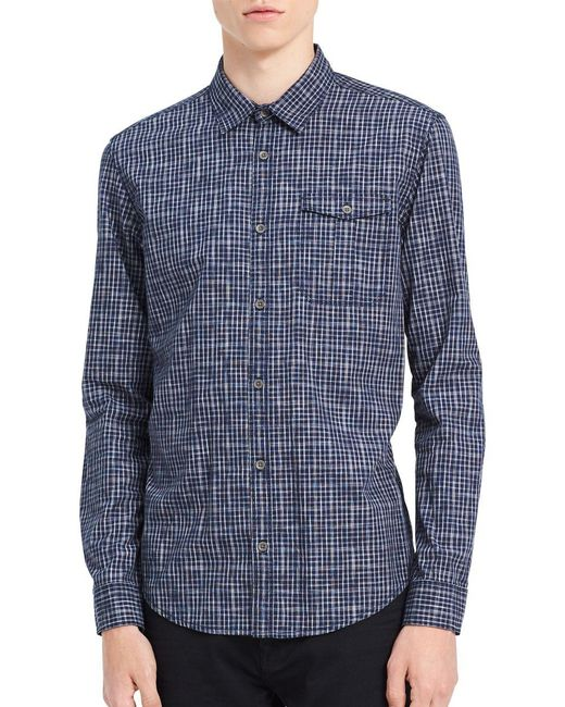 Calvin Klein Jeans - Blue Regular Fit Checked Cotton Shirt for Men - Lyst