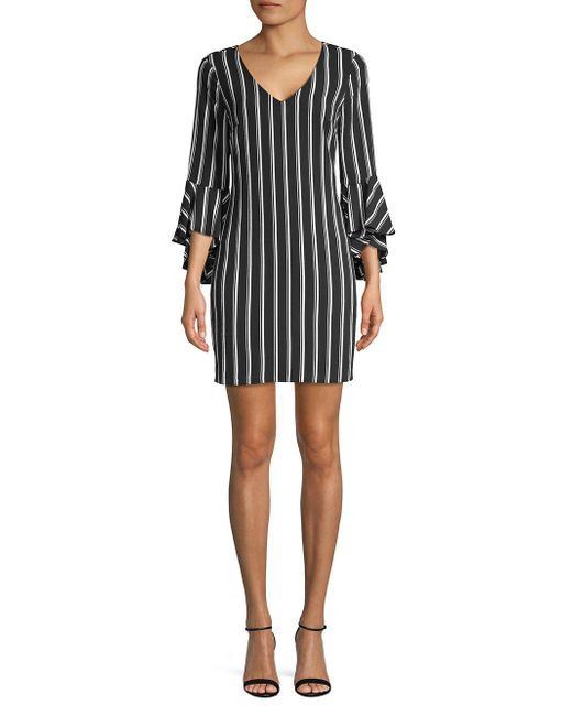 Laundry by Shelli Segal - Black Striped Short Bell-sleeve Dress - Lyst