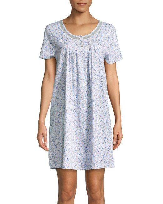Carole Hochman - Blue Printed Cotton Nightgown - Lyst