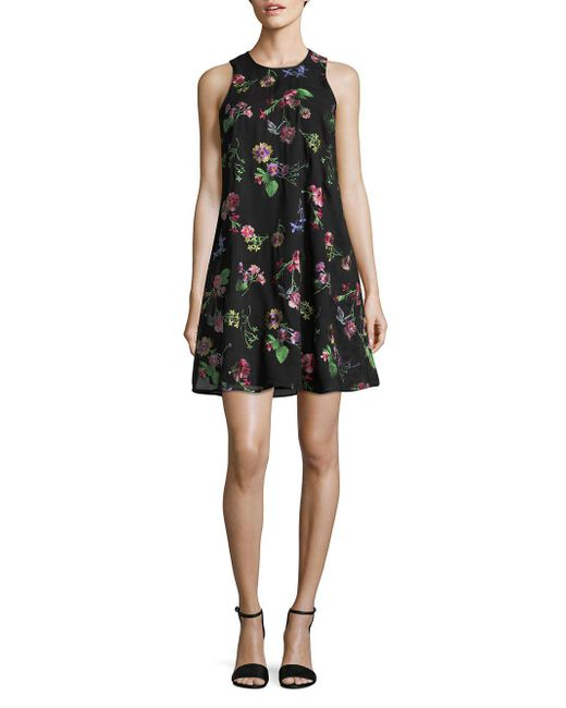 CALVIN KLEIN 205W39NYC - Black Floral Sleeveless Mini Dress - Lyst