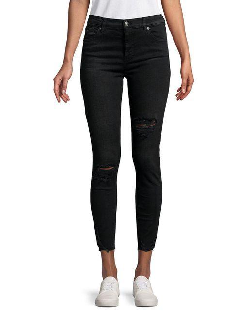 Free People - Black Sharkbite Distressed Jeans - Lyst