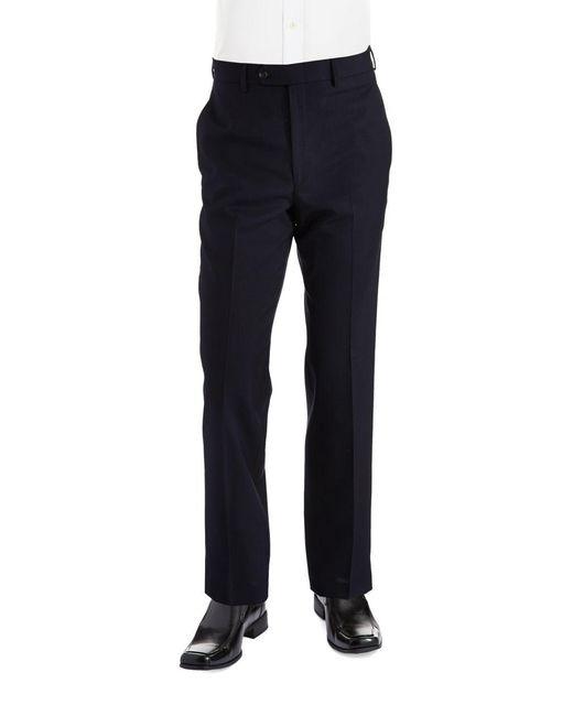 Lauren by Ralph Lauren - Blue Classic Fit Mid-weight Flat-front Wool Trouser Pants for Men - Lyst