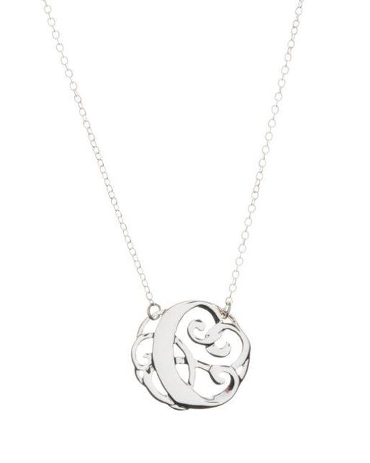 Lord & Taylor - Metallic Sterling Silver C Initial Pendant Necklace - Lyst