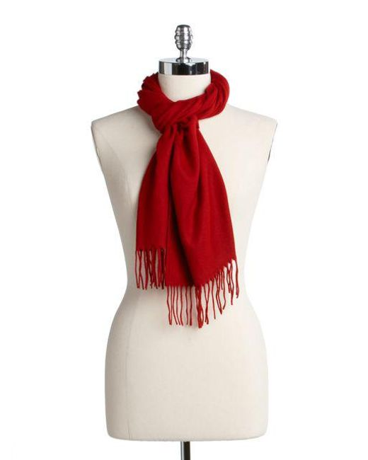 Lord & Taylor - Red Solid Knit Scarf - Lyst