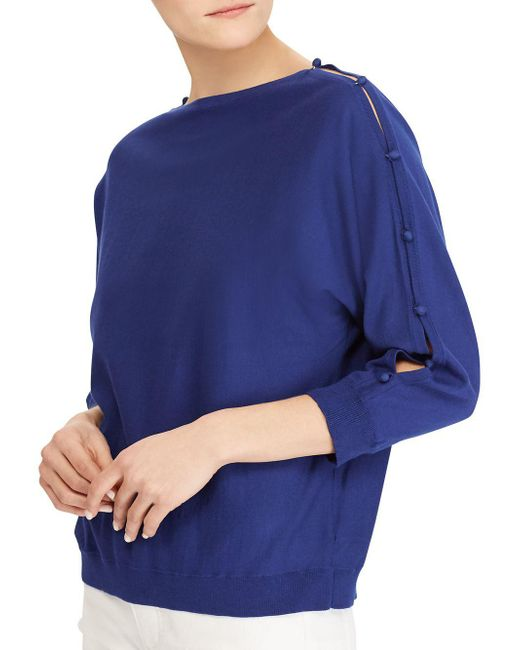 Lauren by Ralph Lauren - Blue Button-sleeve Cotton Top - Lyst