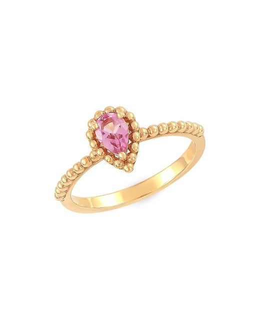 Lord & Taylor Metallic 14k Yellow Gold And Pear-shape Pink Amethyst Ring