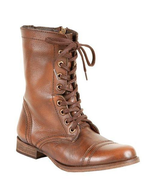 b3e8d7415827 Steve Madden Troopa Leather Combat Boots in Brown - Save ...