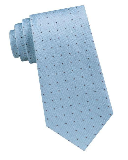 Calvin Klein | Blue Dual Layer Dot Silk Tie for Men | Lyst
