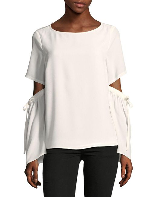 Cece - White Split Flare-sleeve Blouse - Lyst