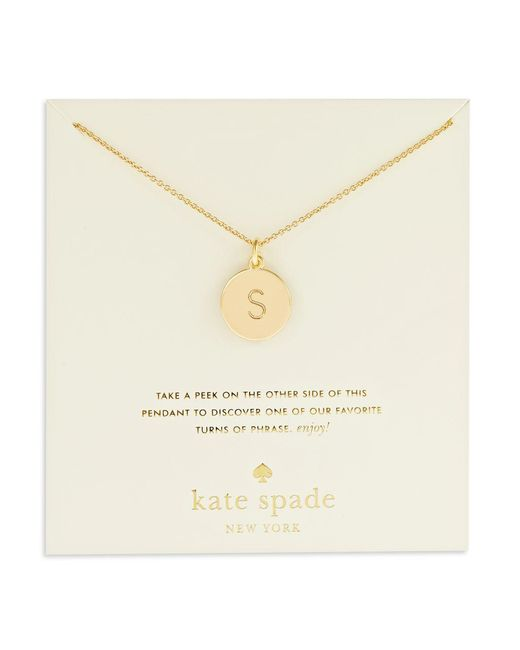 Kate Spade - Metallic Engraved Letter Pendant Necklace - Lyst
