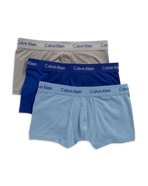 CALVIN KLEIN 205W39NYC - Blue 3-pack Stretch Cotton Low-rise Trunks for Men - Lyst