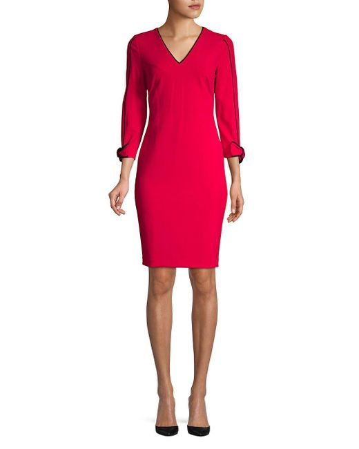 df03504aee31 Calvin Klein - Red Three-quarter Sleeve Sheath Dress - Lyst ...