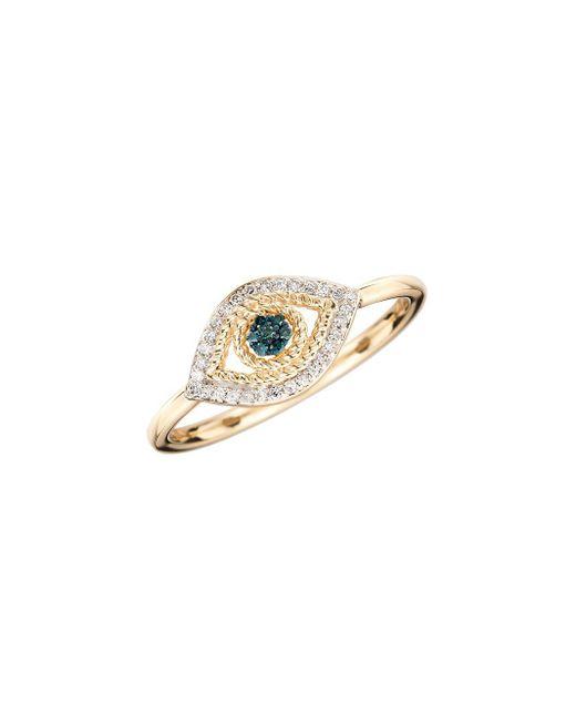 Adina Reyter - Blue 14k Yellow Gold & 0.12 Tcw White Diamond Tiny Pave Evil Eye Ring - Lyst