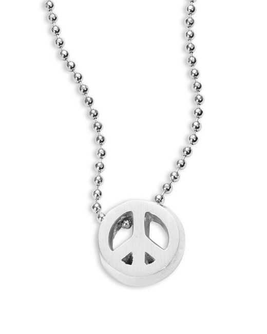 Alex Woo - Metallic Sterling Silver Peace Sign Icon Necklace - Lyst