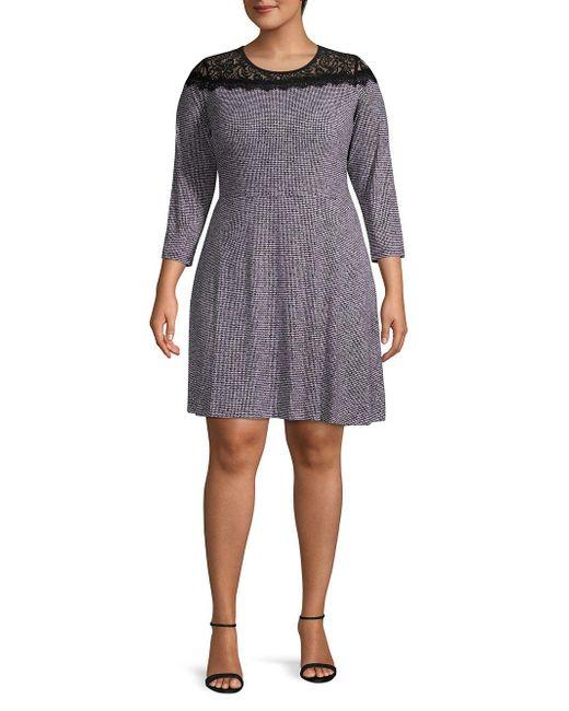 0b148a17b13 MICHAEL Michael Kors Plus Size Mini Tweed Lace Dress in Black - Save ...