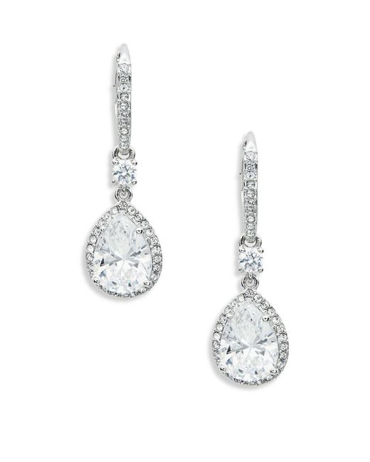 Nadri - Metallic Cubic Zirconia Linear Drop Earrings - Lyst