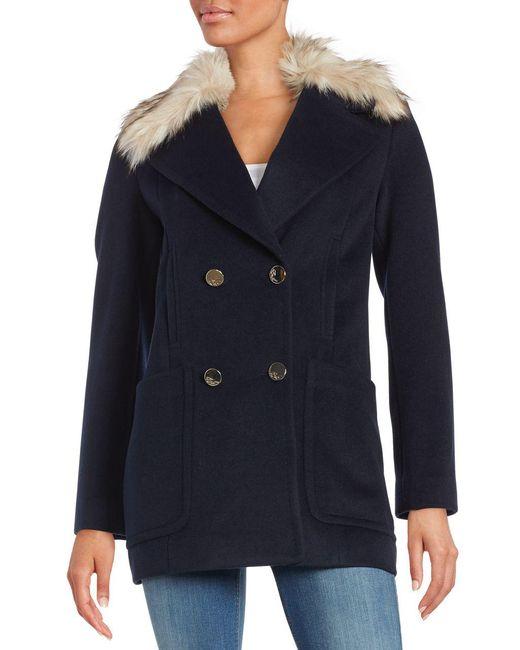 Eliza J - Blue Faux Fur Trimmed Walking Coat - Lyst