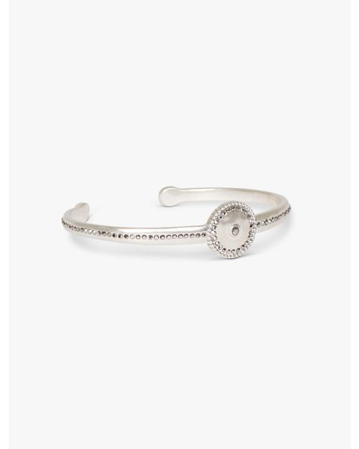 Lucky Brand - Metallic Silver Pave Cuff - Lyst