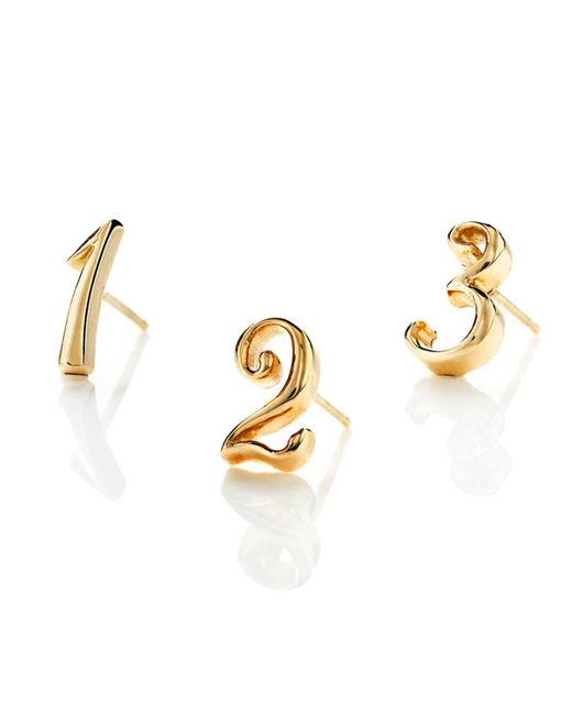 Lulu Frost - Metallic Code Number Earring - 14k Yellow Gold - Lyst