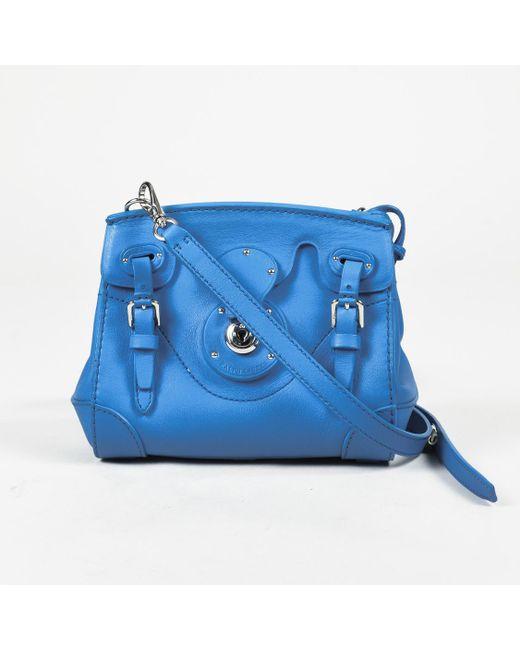 "Ralph Lauren - Blue Leather Mini ""ricky"" Crossbody Bag - Lyst"