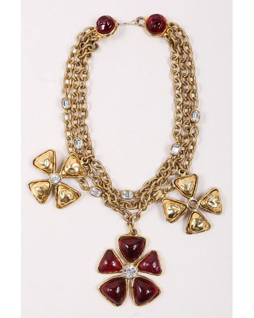 Chanel - Metallic Gold Tone Red Multi Strand Chain Stone Embellished Flower Necklace - Lyst