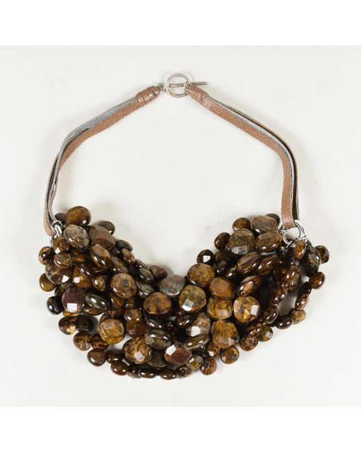 Brunello Cucinelli - Brown Agate Bead Sterling Silver & Leather Collar Necklace - Lyst