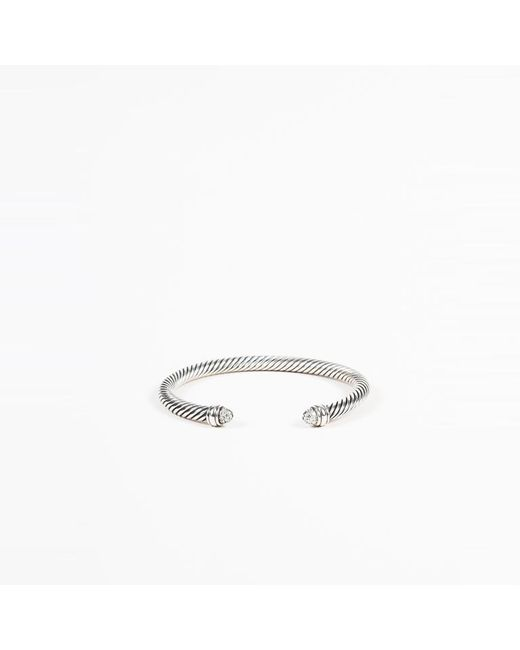 "David Yurman - Metallic Sterling Silver Diamond ""cable Classics"" Bracelet - Lyst"