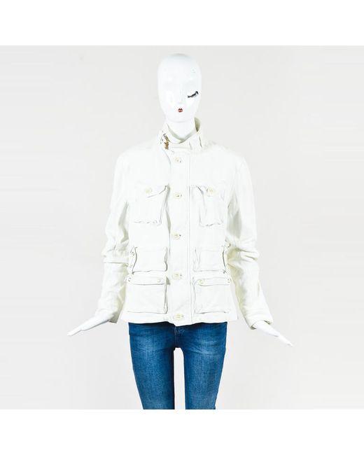 Ralph Lauren - White Cream Leather Multi Pocket Button Up Jacket - Lyst