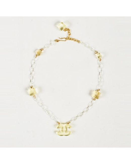 Chanel - Metallic Spring 2001 Clear Lucite Gold Plated Metal 'cc' Choker Necklace - Lyst