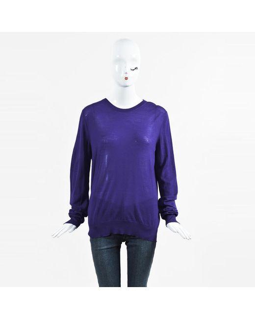 bb711e2c1ee17 Lyst - Proenza Schouler Blue Merino Wool Long Sleeve Sweater in Blue