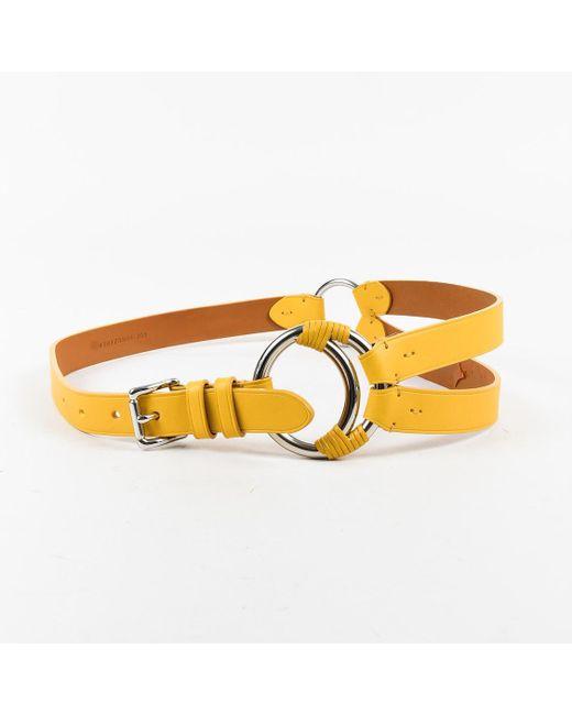 Ralph Lauren - Yellow Leather Asymmetric Hip Belt - Lyst