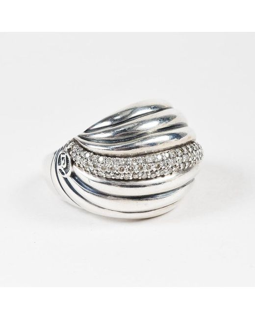 David Yurman - Metallic Sterling Silver Diamond Sculpted Cable Dome Ring - Lyst