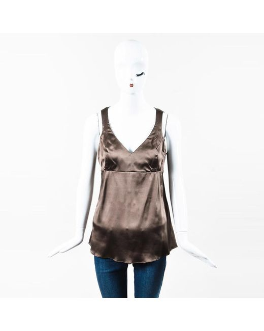 Brunello Cucinelli - Brown Silk V Neck Sleeveless Blouse - Lyst