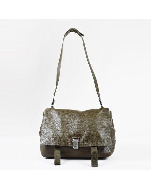 Proenza Schouler - Olive Green Pebbled Leather Flap Messenger Shoulder Bag - Lyst