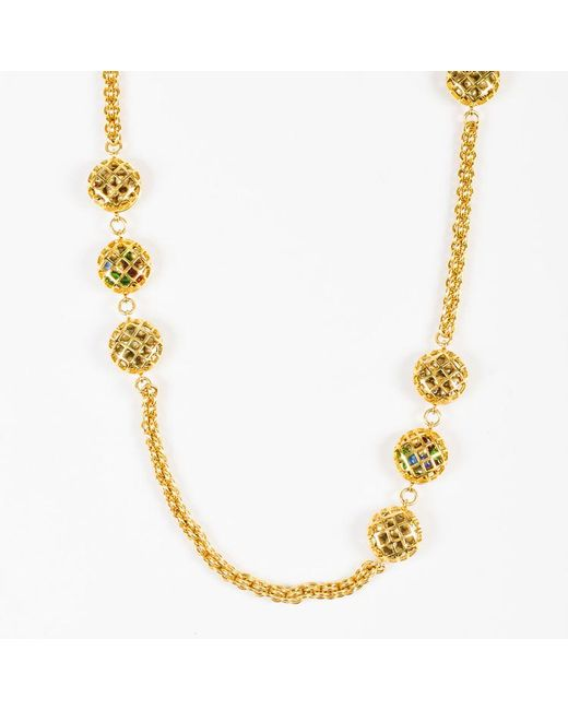 Chanel - Metallic Vintage Gold Tone Multicolor Caged Gripoix Chain Link Station Necklace - Lyst