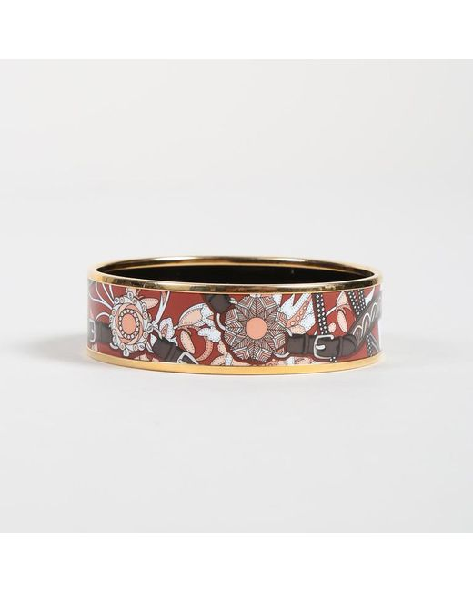 """Hermès - Metallic Gold Tone Metal Multicolor Enamel Printed """"wide"""" Bracelet - Lyst"""